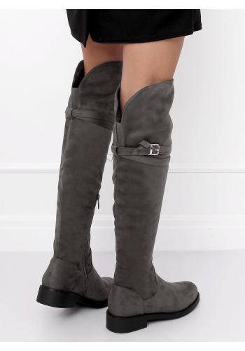 Semišové dámské kozačky nad kolena šedé barvy s přezkou