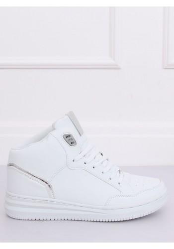 Kotníkové dámské tenisky bílo-stříbrné barvy