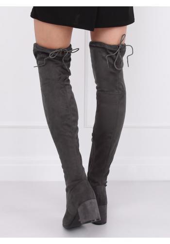 Semišové dámské kozačky nad kolena šedé barvy na nízkém podpatku