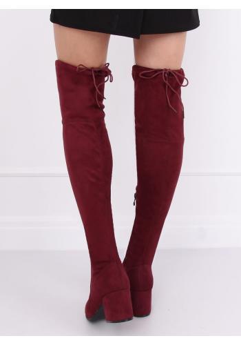 Dámské semišové kozačky nad kolena na nízkém podpatku v bordové barvě