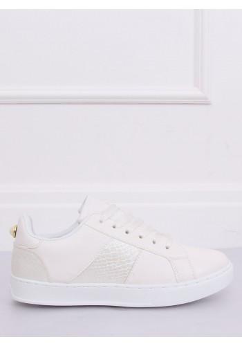Dámské stylové tenisky s metalickými vložkami v bílé barvě