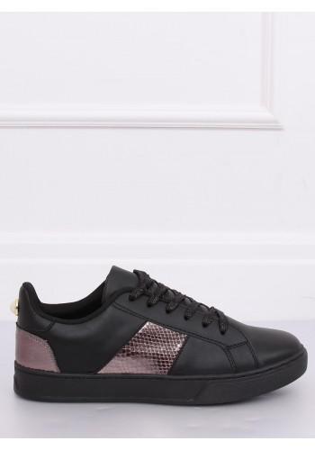 Stylové dámské tenisky černé barvy s metalickými vložkami