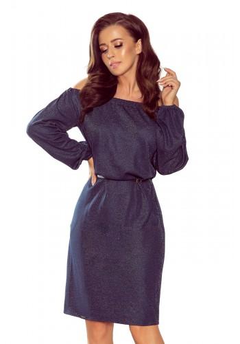 Tmavě modré elegantní šaty s páskem pro dámy