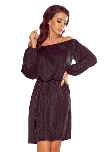 Dámské elegantní šaty s páskem v černé barvě