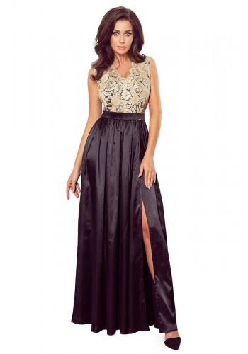 Dlouhé dámské šaty černo-béžové barvy s vyšívaným výstřihem