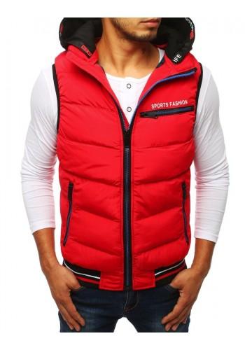 Prošívaná pánská vesta červené barvy s kapucí