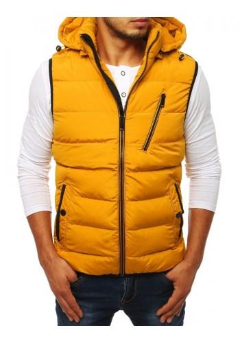 Pánská prošívaná vesta s kapucí ve žluté barvě