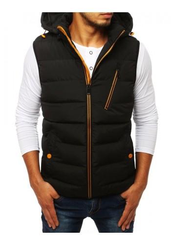 Prošívané pánské vesty černé barvy s kapucí