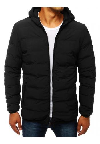 Prošívaná pánská bunda černé barvy s kapucí