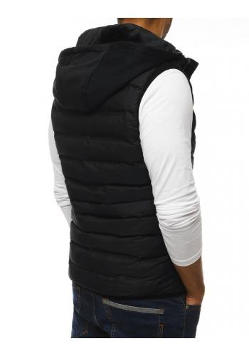 Pánská prošívaná vesta na přechodné období v černé barvě