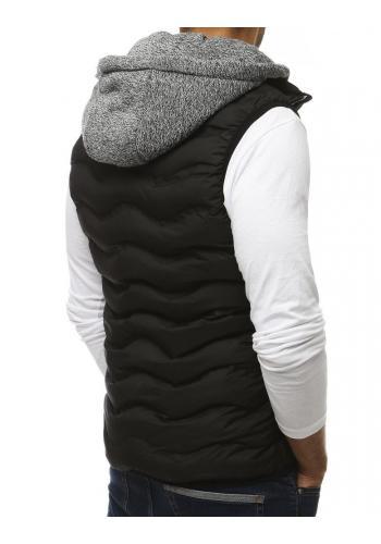 Pánská prošívaná vesta s teplákovou kapucí v černé barvě