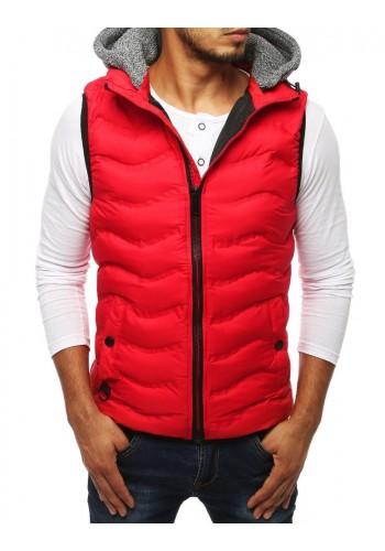 Červená prošívaná vesta s teplákovou kapucí pro pány