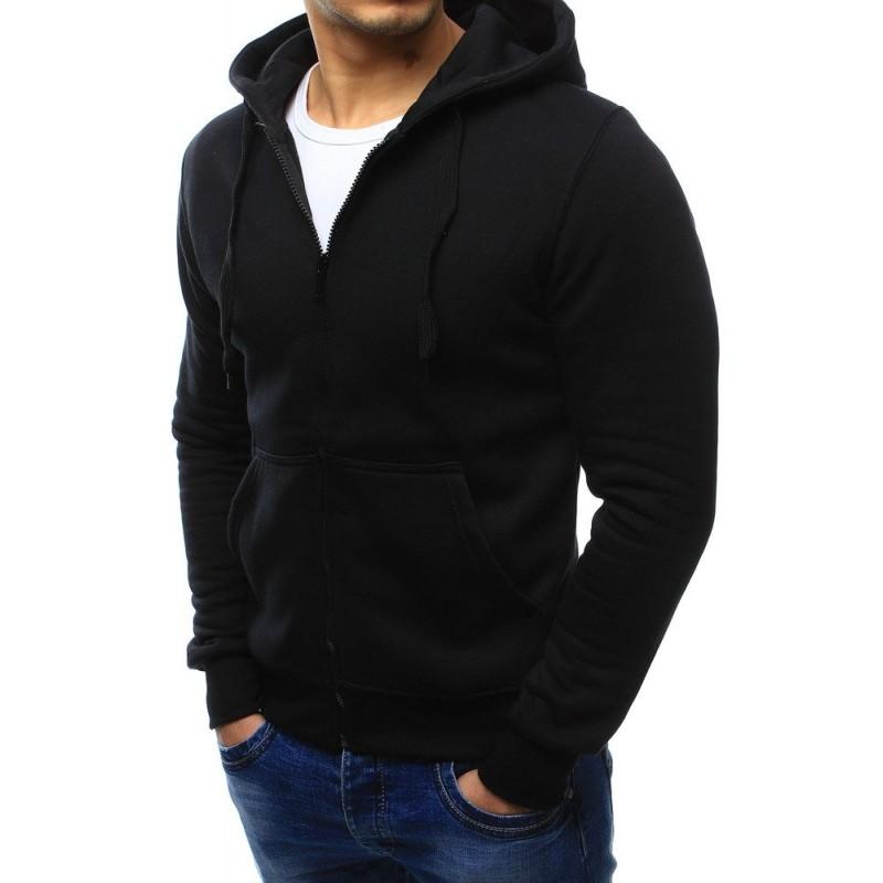 Černá pánská mikina na zip s kapucí