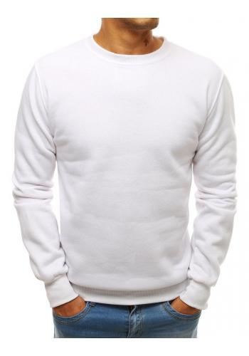 Klasická pánská mikina bílé barvy bez kapuce