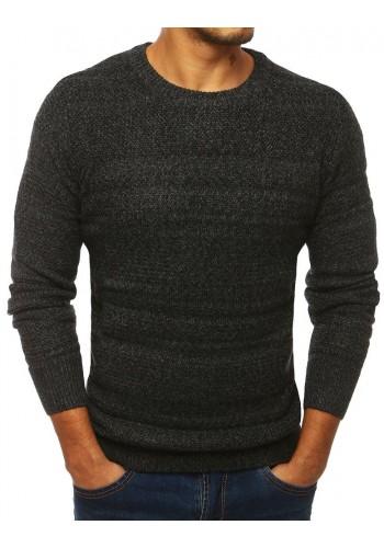 Pánský klasický svetr s kulatým výstřihem v tmavě šedé barvě