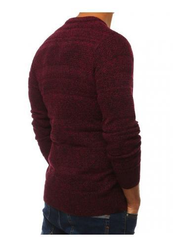 Bordový klasický svetr s kulatým výstřihem pro pány