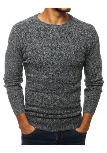 Pánský klasický svetr s kulatým výstřihem v šedé barvě