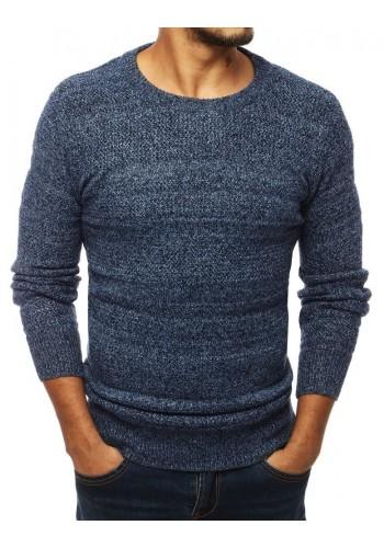Klasický pánský svetr modré barvy s kulatým výstřihem