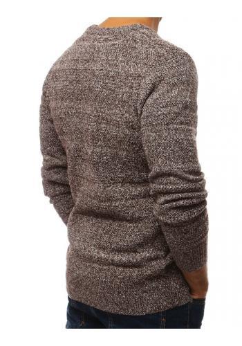 Hnědý klasický svetr s kulatým výstřihem pro pány