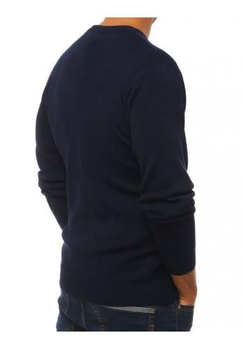 Klasický pánský svetr tmavě modré barvy s kulatým výstřihem