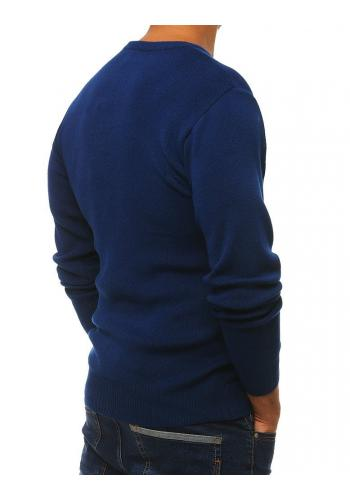 Modrý klasický svetr s kulatým výstřihem pro pány