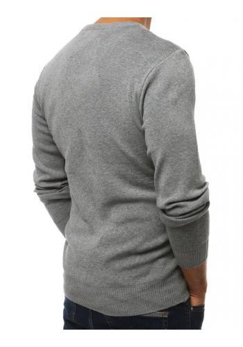 Pánské klasické svetry s kulatým výstřihem v šedé barvě