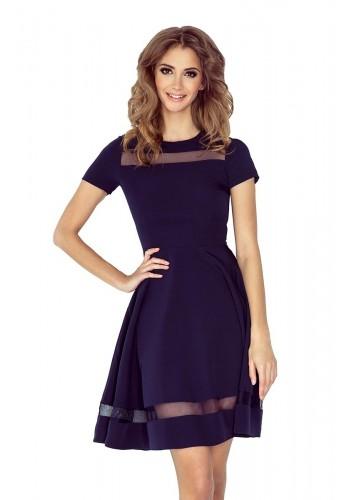 Společenské dámské šaty tmavě modré barvy s průsvitnými pásy