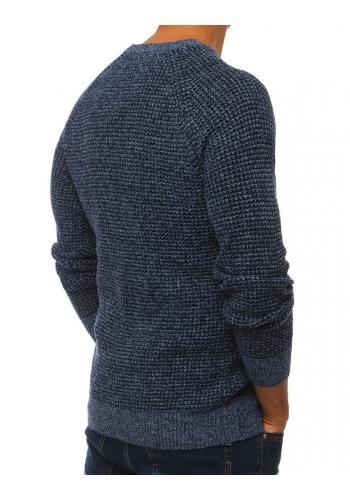 Modrý módní svetr s kulatým výstřihem pro pány