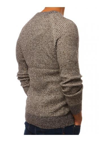 Pánský módní svetr s kulatým výstřihem v hnědé barvě