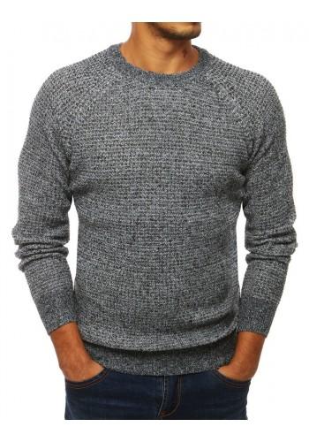 Módní pánský svetr šedé barvy s kulatým výstřihem