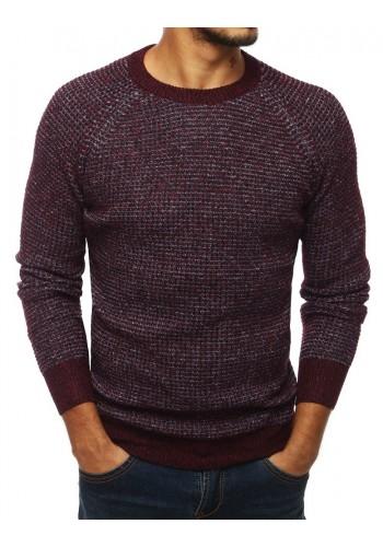Bordový módní svetr s kulatým výstřihem pro pány
