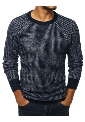 Pánský módní svetr s kulatým výstřihem v tmavě modré barvě