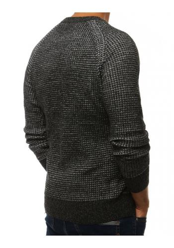 Módní pánský svetr tmavě šedé barvy s kulatým výstřihem