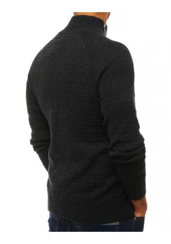 Pánský melanžový svetr s vysokým límcem v tmavě šedé barvě
