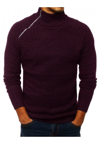 Melanžový pánský svetr bordové barvy s vysokým límcem