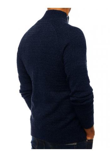 Tmavě modrý melanžový svetr s vysokým límcem pro pány