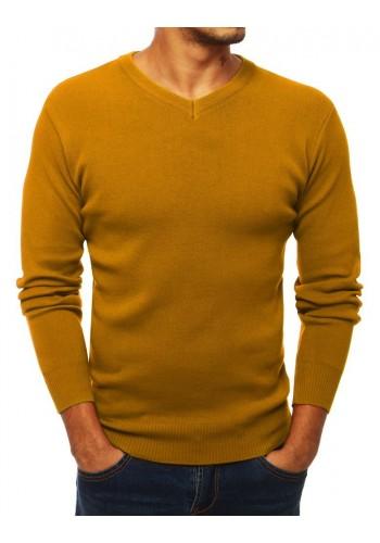 Pánský klasický svetr s výstřihem ve tvaru V ve velbloudí barvě