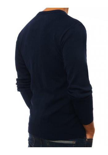 Tmavě modrý klasický svetr s výstřihem ve tvaru V pro pány