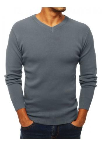 Klasický pánský svetr šedé barvy s výstřihem ve tvaru V