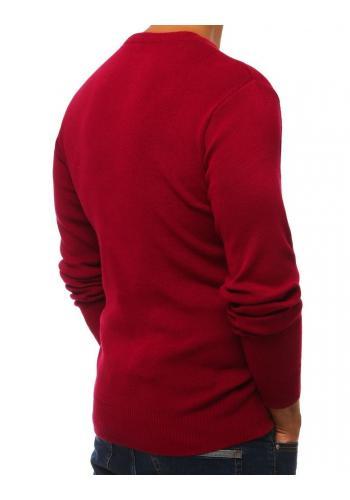 Pánské klasické svetry s výstřihem ve tvaru V v bordové barvě