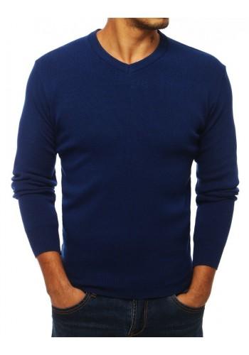 Modrý klasický svetr s výstřihem ve tvaru V pro pány