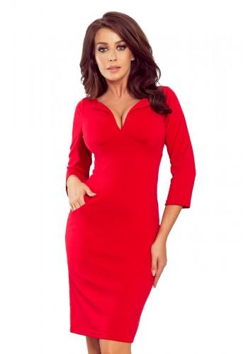 Červené přiléhavé šaty s výstřihem pro dámy