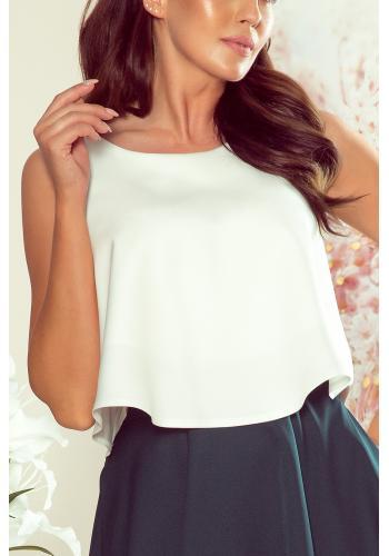 Rozšířená dámská halenka bílé barvy bez rukávů