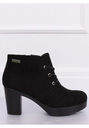 Černé semišové boty na podpatku pro dámy