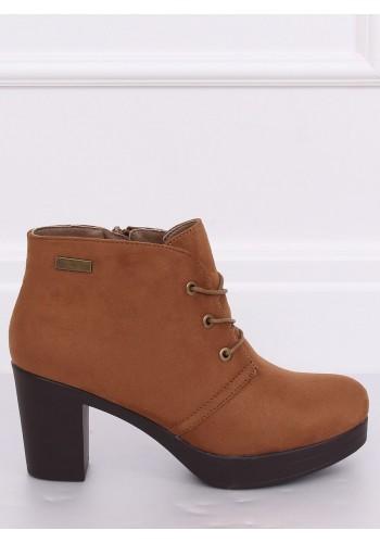 Dámské semišové boty na podpatku v kaki barvě