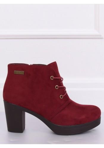 Semišové dámské boty bordové barvy na podpatku