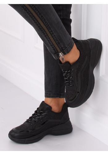 Dámské třpytivé tenisky na vysoké podrážce v černé barvě