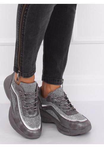 Třpytivé dámské tenisky šedé barvy na vysoké podrážce