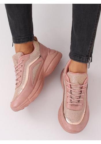 Růžové třpytivé tenisky na vysoké podrážce pro dámy
