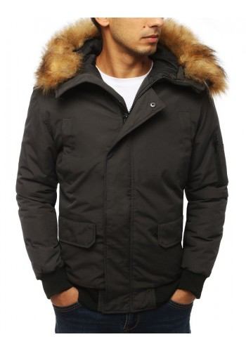 Pánská zimní bunda s kapucí v tmavě šedé barvě